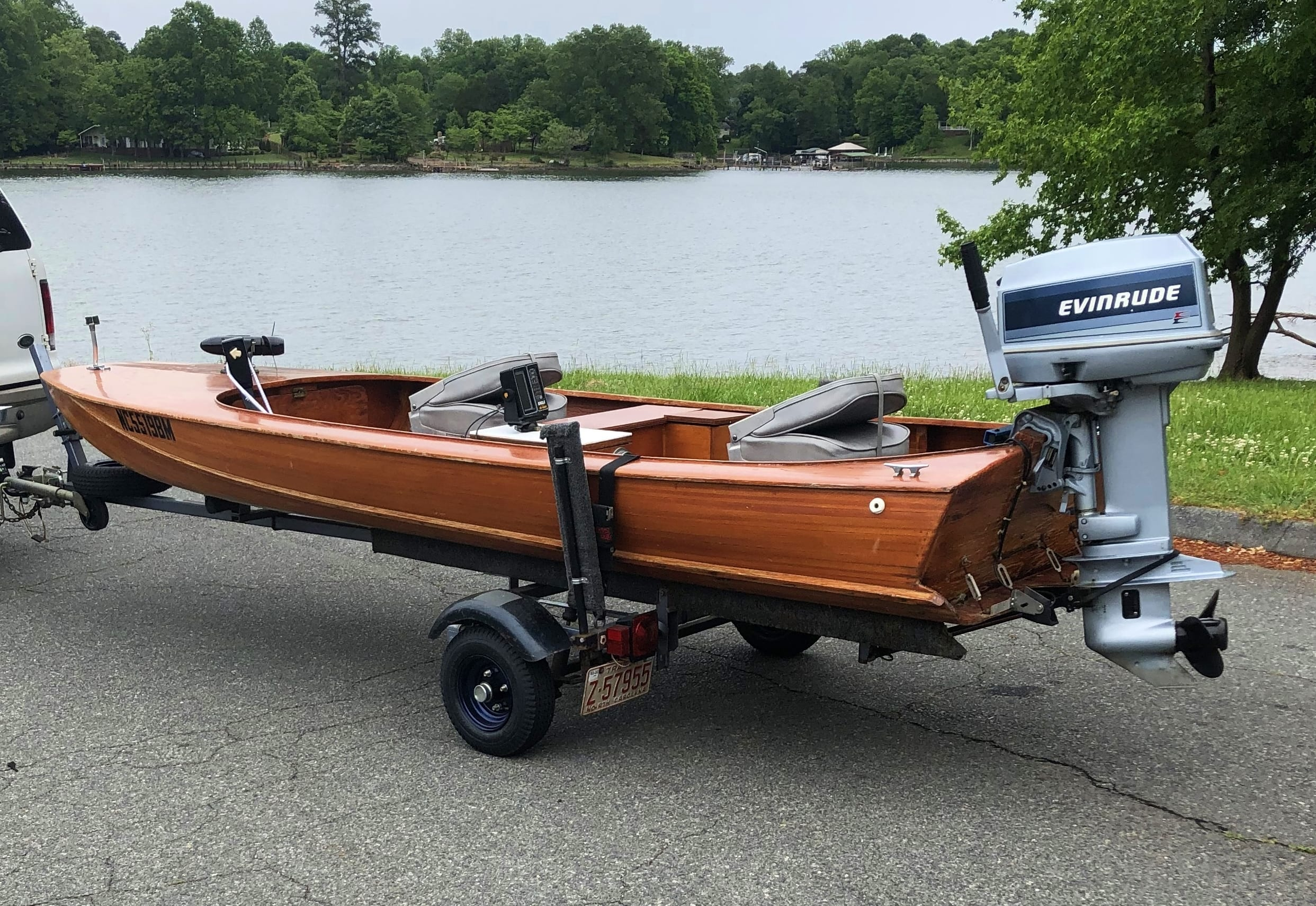 One Owner 1985 14' Fiberglass Covered Cypress Strip Wooden Boat and Trailer