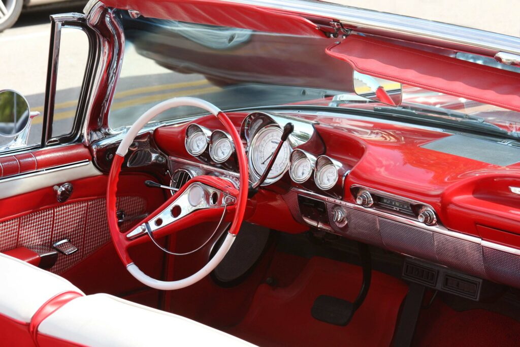 interior of red classic American car