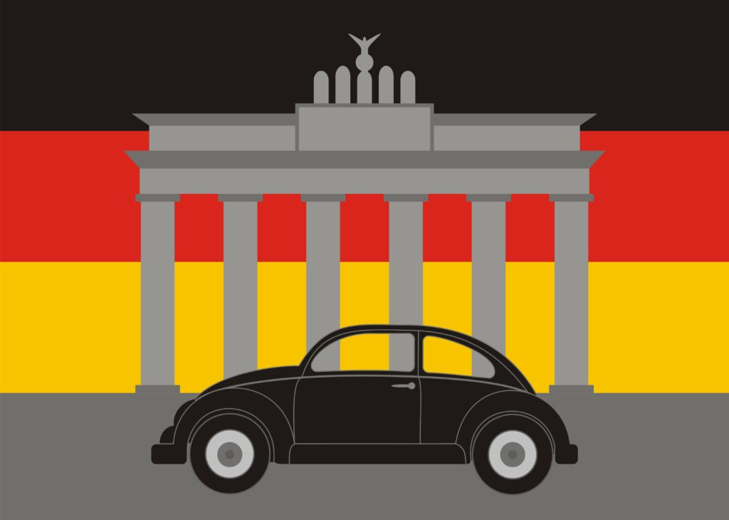 art of classic beetle and german background